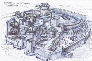 Source material: http://www.artofthetitle.com/title/game-of-thrones/ (winterfell sketch 3rd picture in the gallery)
